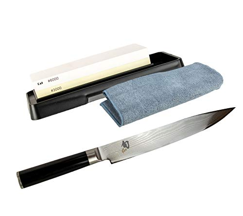 Kai Shun Bundle - Cuchillo jamonero ultra afilado (hoja de 23,0 cm, DM-0704, piedra de afilar Kai...