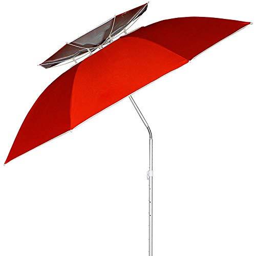 IF.HLMF Paraguas plegable de pesca de 2,2 m universal de la pesca de la lluvia paraguas sombrilla doble protector solar insertar equipo de pesca a prueba de viento
