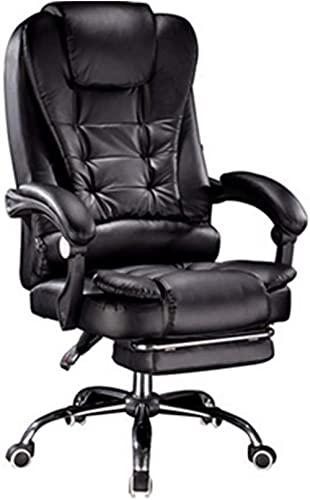 Silla de juego con reposapiés con asiento y respaldo para jugador, se puede inclinar 135°, silla de juegos de cuero, respaldo alto, silla giratoria