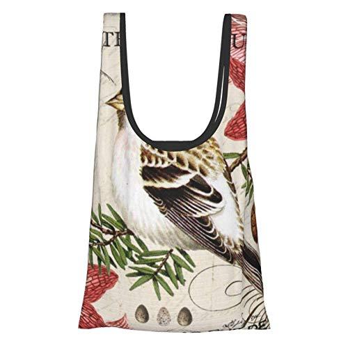 Moderner, französischer Winter-Vogel-Thema, praktisch, modisch, wiederverwendbar, umweltfreundlich, Einkaufstasche.