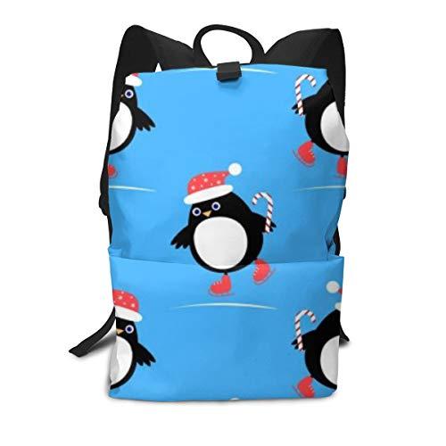 Pinguin auf Schlittschuhen Leichter Laptop-Rucksack für Frauen Männer, School College Rucksack, Neuheit Rucksäcke