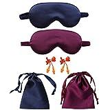 COSYOO 2 Juegos De Máscara para Dormir De Seda Sintética Máscara Protectora Creativa para Los Ojos De Color Sólido Tapones para Los Oídos para Dormir