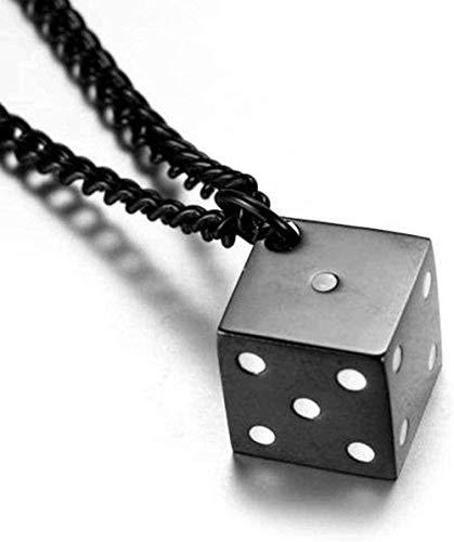 WLHLFL Collar Collar de Cubo de Acero Inoxidable Coreano Accesorios para Hombres Cubo de Moda Collar con Colgante de Acero de Titanio Blanco-Negro Regalo para Mujeres Hombres
