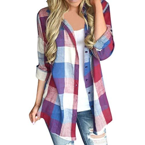 VJGOAL Damen Bluse, Damen Mode lässig passenden Farbe herbstlichen Langarm-Taste lose Kariertes Hemd Bluse Top T-Shirt (Rot, 40)