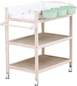 H yina Wood Baby Changing Table Wheels  Nursery Girls Boys Infants Massage Dresser Bathtub Station with storage  0-3 Years Old