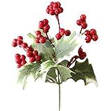 WARMWORD Flores Simulación de Flores Decorativas Artificiales Una Sola Rama Baya Fruta roja Navidad Fruta de Acebo Frijol de Acacia Fruto de Rama Alta Decoración de florero