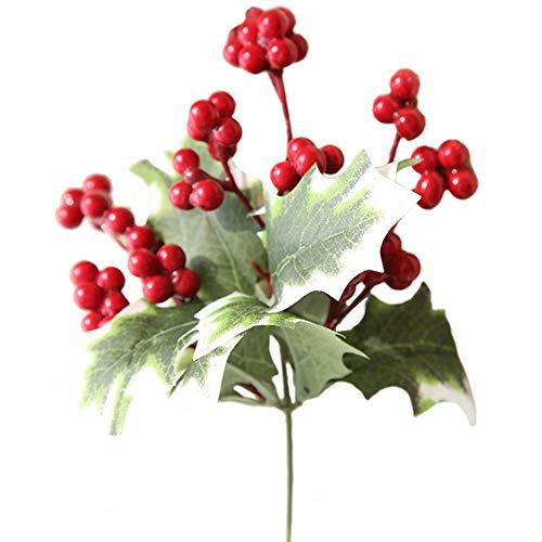 WARMWORD Flores Simulación de Flores Decorativas Artificiales Una Sola Rama Baya Fruta...