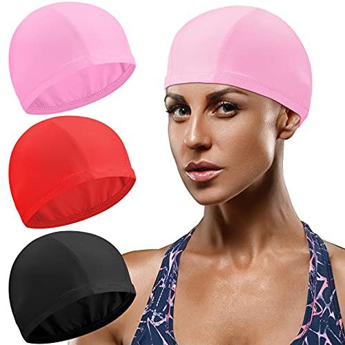 Syhood 3 Cuffia Nuoto in Tinta Unita in Tessuto di Nylon Cuffia da Bagno Unisex Cuffia Antiscivolo per Piscina per Capelli Lunghi e Corti Atleti (Nero, Rosa, Rosso)