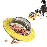 LxwSin Disco volador de perro, Alimentador Juguete Perro, Disco Interactivo para Cachorros, Comida Fugas Disco, Juguete de Bola Giratoria para Masticar, Juguetes Educativos IQ de Dientes de Perro Gato