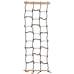 commercial A children's climbing weight net with nylon ropes and wooden dowels is a fun outdoor toy for balancing … climbing rope netting