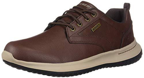 Skechers Delson-Antigo, Zapatillas para Hombre, Marrón (Red Brown Leather Rd BR), 39.5 EU
