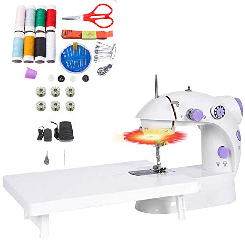 Mini Sewing Machine, Portable Electric Crafting Mending Machine 2-Speed Double Thread with Foot Pedal and Light for Household Travel Beginner (45pcs Kit Table)