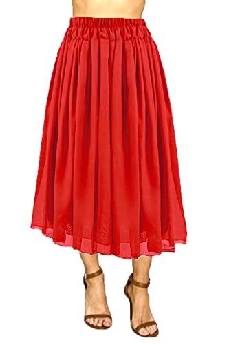Meek Mercery Falda larga de gasa para adultos gitanos de danza para mujeres desgaste de danza del vientre C30, rosso, 36