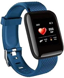 LINGJIA Pulsómetros Nuevas Pulseras Pulsera Sangre Medida Impermeable Deportes Fitness Tracker Reloj Frecuencia Cardíaca Monitor Azul