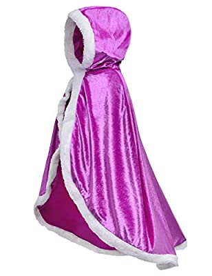 Fur Princess Costume Cape Fur Hooded Cloaks for Little Girls Dress Up Purple 3-4 Years(110cm)