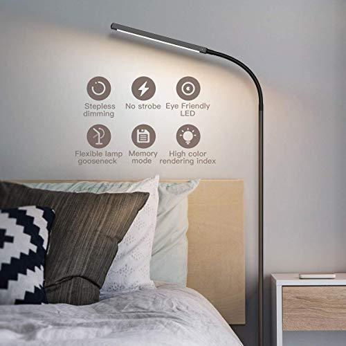 dodocool Lámparas de Pie LED,4 Temperaturas de Color y 4 Brillo Ajustable Lampara de Pie,Vida Util Larga Luz de Piso de Control Táctil,Luz cuidado Ojos,Bajo Consumo,Lampara de Pie Salon,360 °Ajustable