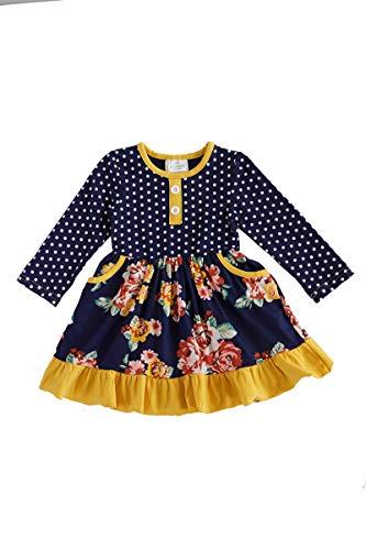 Honeydew cutie Boutique Navy Floral Polkadot Ruffle Dress (XL(6))