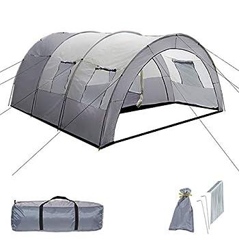 TecTake 800588 Tente de Camping Familiale Tunnel XXL, 4 Fenêtres, Jusqu?à 6 Personnes - diverses Couleurs - (Gris - Gris Clair | n° 402917)