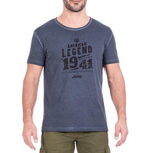 Jeep Herren T-Shirt Vintage-Effekt American Legend J8S, Blue Night/Black, S