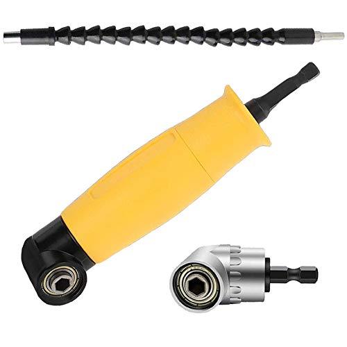 90 graden hoekopzetstuk, FORTSPANG 1/4-inch Hex-bit-adapter, zeskant schachtverlenging schroevendraaier boren socket houder adapter huls en flexibele hoekverlenging