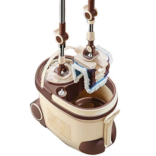 ylumin Double Drive Rotary Mop.Acier Inoxydable Moderniser Toute Rotation De 360 ° Microfibre Mop 1x Tête Ronde Mop, 1x Square Mop