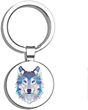 Glover Trading Abstract Husky Wolf Round Steel Metal Key Chain Keychain Ring Double Sided Deisgn