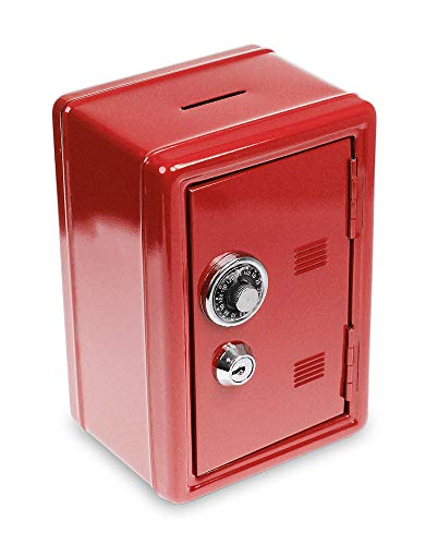 Monsterzeug Spardose Mini Tresor - rot, Sparbüchse mit Zahlenkombination, Mini Safe mit Schlüssel