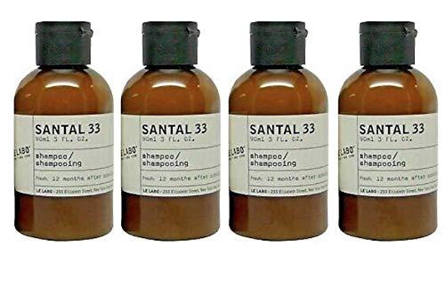 Le Labo Santal 33 Shampoo - Set of 4, 3 Ounce Bottles - 12 Fluid Ounces Total Plus Amenity Pouch