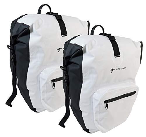 Red Loon 2 x Bicycle Bag Plus Pannier Bag White Pannier Rack Bag Luggage Bag