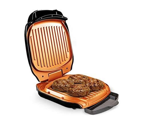 MediaShop Livington Low Fat Grill – kompakter Kontaktgrill für fettarmes Grillen – Elektrogrill mit Antihaft-Keramikbeschichtung und Fettablauf