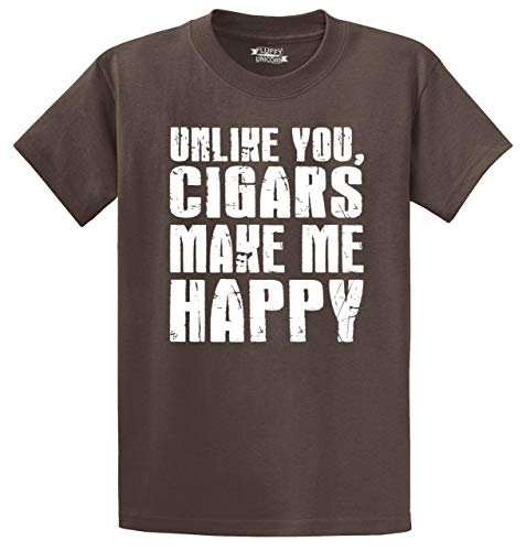 Comical Shirt Men's Heavyweight Tee Unlike You Cigars Make Me Happy Brown 5XL