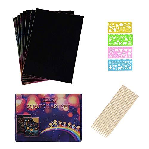 JBSON Kratzbilder Set für Kinder, 30 Große Blätter Regenbogen Kratzpapier zum Zeichnen und Basteln mit Schablonen, Holzstiften