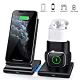 COULAX Wireless Charger, 3 in 1 Wireless Charging Station for Apple Watch, Airpods 1/2, Qi-Certified Fast Charge Stand Compatible with iPhone 11 Pro/XS Max/XS/X/XR (Not Include QC 3.0 Adapter)