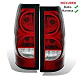 AmeriLite for 2003-2006 Chevy Silverado Replacement OE Style Ruby Red Taillights Rear Brake Lamp Assembly w/Bulb and Harness Set - Passenger and Driver Side