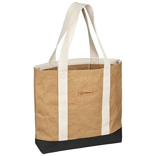 majnberg Kraft-Papier-Tote Bag in braun, vegane Tasche im Vintage-Stil, wasserfester Alltagsshopper aus Zellulose mit Leder-Optik und Canvas-Gurten