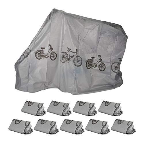 Relaxdays 3 x Fahrradgarage aus Polyethylen, reißfeste Schutzhülle, Sonnenschutz, robuste Abdeckung, 200 x 115 cm, Grau
