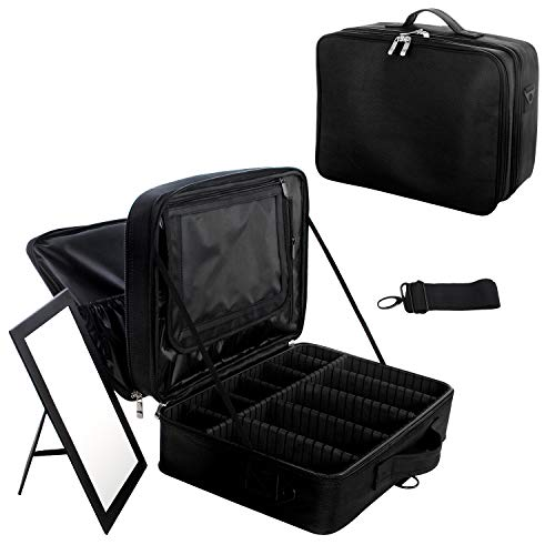 Joligrace Extra Large Oxford Fabric Professional Makeup Bag with Removable Back Strap Cosmetic Case Beauty Box Hairdressing Tools Organiser Storage Box with Mirror (Black)
