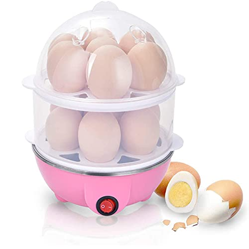 KREVIA Egg Boiler Electric 2 Layer and Corn Vegetable Cooker with Measuring Cup (Assorted, 14 Eggs, Pack of 1)