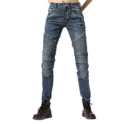 """Takuey Women Street Motorcycle Riding Pants Motocross Racing Protective Jeans with Knee Hip Pads (M(30)=Waist 31.5"""") Blue by Takuey"""