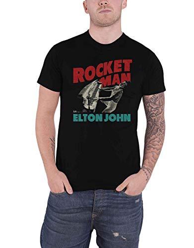 Elton John T Shirt Rocketman Piano Logo Nue offiziell Herren Schwarz