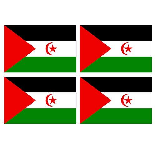 Supstick stickers, motief: vlag van Nation Sahara, Westland, formaat 12 x 8 cm, 4 stuks