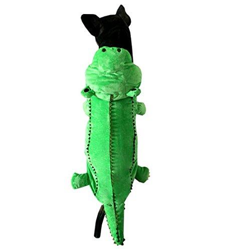 Selmai Dog Costume de crocodile Pyjama Polaire à capuche Winter Vert, pour chien moyen