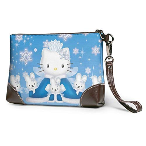 Pulsera de piel auténtica con diseño de Hello Kitty, con cremallera, para teléfono móvil, pasaporte, cartera, gran capacidad, para hombres
