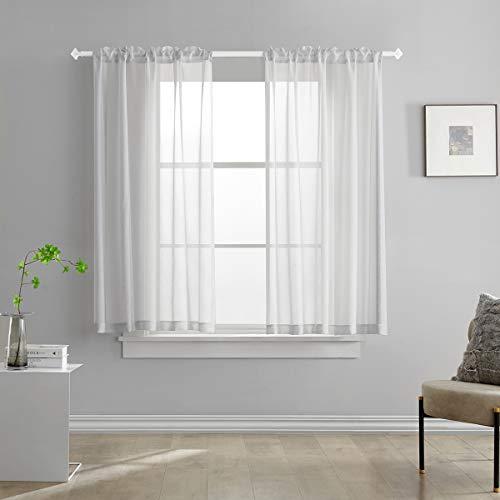 TOAVA DECO Silver Grey Semi Sheer Curtains Linen Look 45 Inch Length Light Filtering Rod Pocekt for Bedroom Living Room 52 x 45, Set of 2 Panels