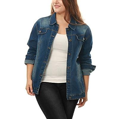 Allegra K Damen Plus Size Langarm Umlegekragen Button Jeansjacke Jacke Blau
