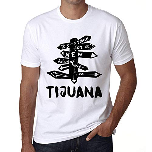 Hombre Camiseta Vintage T-Shirt Gráfico Time For New Advantures Durango Blanco