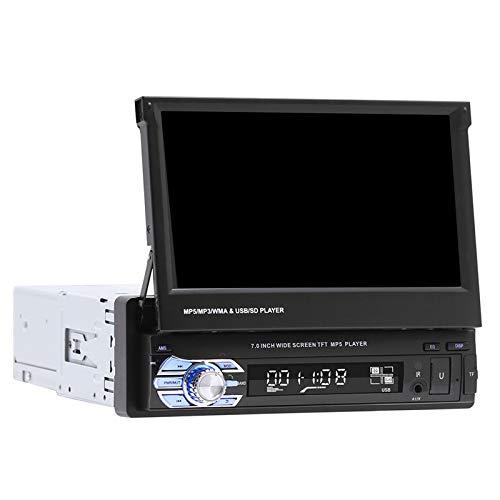 balikha Radio de Coche 7'Pantalla Retráctil Reproductor MP5 Pantalla FM Estéreo Bluetooth - con cámara de 4 Leds