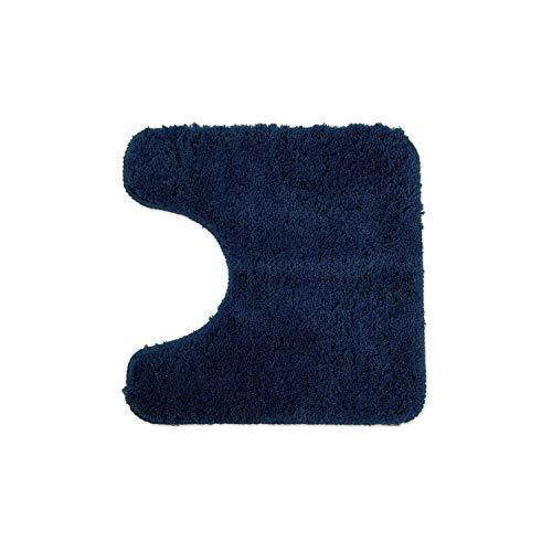 WohnDirect Tapis de Bain Bleu foncé • Sets modulables • Antidérapant, Absorbant et Doux• découpe WC, 45x45cm