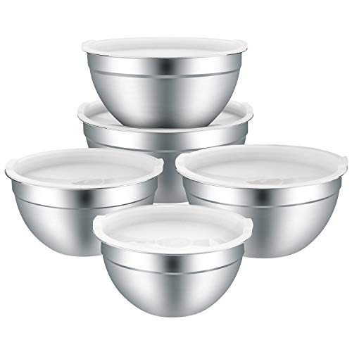 Mixing Bowls Stainless Steel Mixing Bowls Set of 5 with Lids for Kitchen Nesting Metal Bowls for Baking Cooking Serving Prepping Food Storage Salad Bowls  4 3 25 2 15 QTWhite