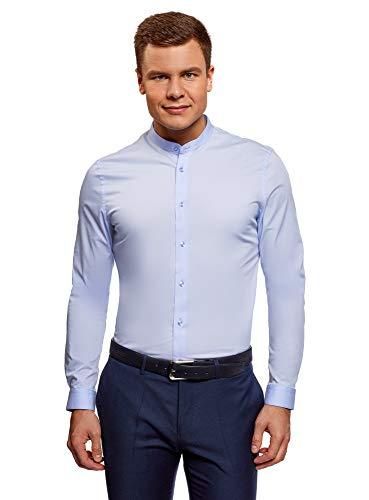 oodji Ultra Uomo Camicia Silm Fit con Collo alla Coreana, Blu, 44